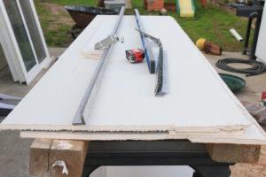 cutting drywall outside