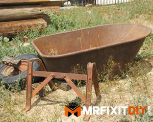 rusted wheelbarrow restoration