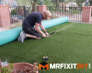 cutting artificial turf installation