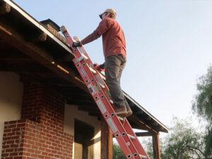 DIY chimney cleaning climbing ladder